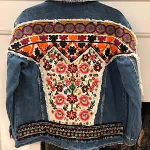 Embroidered and Beaded Jean Jacket AMAZING DETAILS